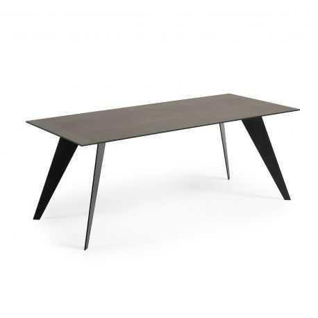 Table de repas JARVIS 200X100 céramique Piétement Inox Mat
