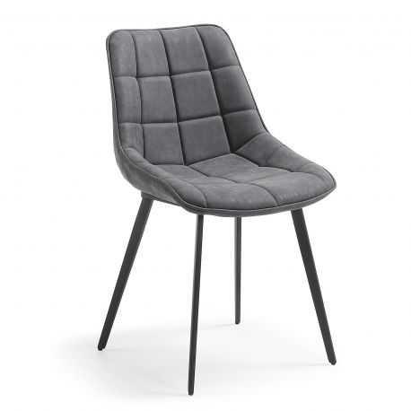 Chaise ZAGATO en cuir recyclé coloris anthracite, taupe ou marron oxyde