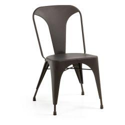 Chaise MELBOURNE métal graphite blanc turquoise façon vintage ou industrielle