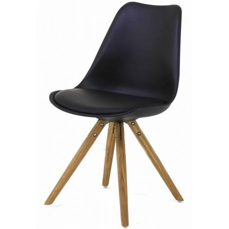 chaise coque esprit nordic pied rond en bois de ch ne typ scandinave. Black Bedroom Furniture Sets. Home Design Ideas
