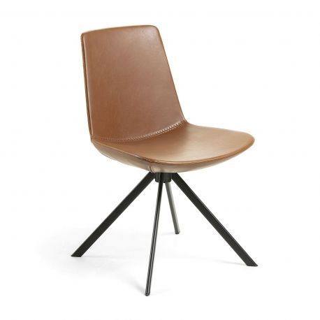 Chaise CLARK cuir synthétique coloris noir, marron oxyde, vert piétement en acier design
