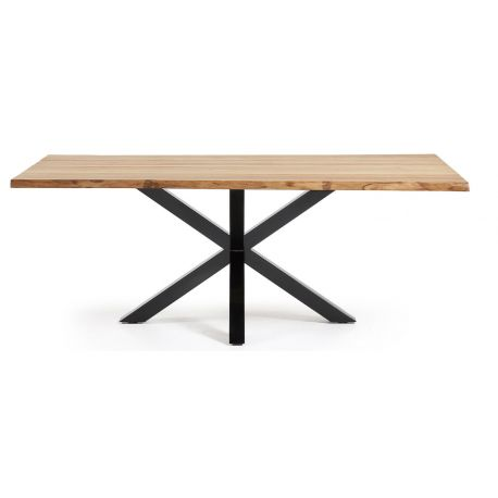 Table de repas 220X100 SOREN chêne massif piétement noir