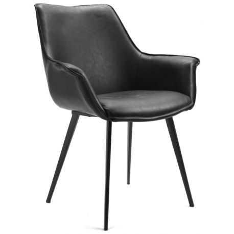 Chaise avec accoudoir salle manger corsa cuir pi tement - Chaise cuir noir salle manger ...