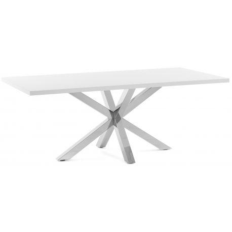Table repas Safe laqué blanc mat piétement inox
