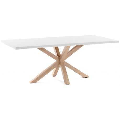 Table de repas SAFE laqué blanc mat piétement blanc