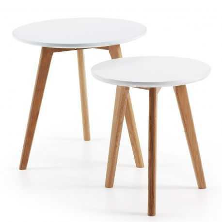 QUATTRO: Set 2 tables appoint Ø50 bois naturel mdf blanc