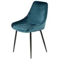 Chaise CAPRIS en velour bleu, noir, marron, rouge, cognac et vert avec un pied noir