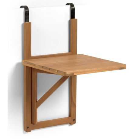 Table de balcon rabattable Anais en bois massif d'acacia 40x42 cm