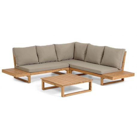 Salon de jardin d'angle Flavia 5 places en bois d'acacia