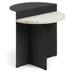 EPURLY Table d'appoint terrazzo blanc