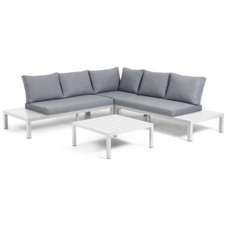 Canapé d'angle modulable 5 places et table Lukas en aluminium coussins marron