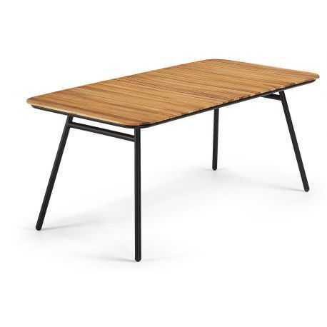 SAKODA Table 180 x 90 noir, acacia naturel