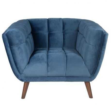 Canapé 2 places WINSTON velours bleu tissu gris clair tissu gris foncé