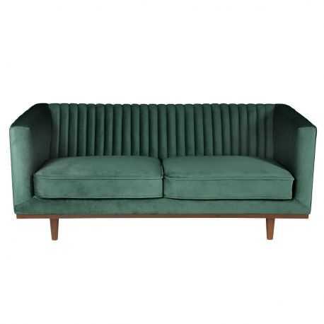 Canapé en velours 2 places HARRIS Existe en 3 coloris: velours vert, velours gris et velours beige