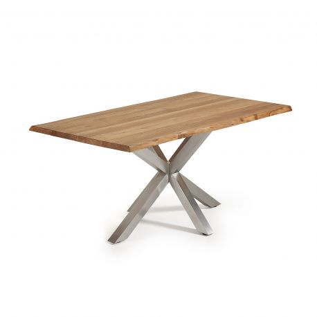 Table soren 180X100 chêne massif pieds étoile inox mat
